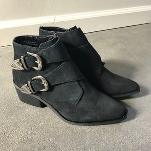 Urban Outfitters Black Buckled Boots